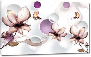 Красивый фон с цветами и бабочками