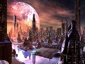 вид на футуристический город на иностранной планете