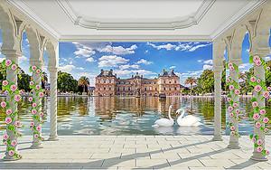 Лебеди в пруду у замка