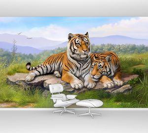Два ярких тигра на камне