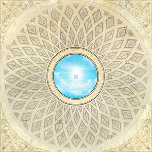 Небо в центре 3D купола