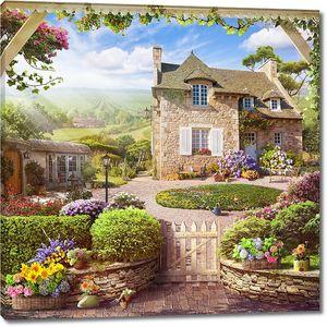 Прекрасный дом с садом в солнечный день