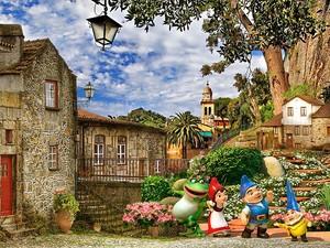 Улица со старинными домами и гномами