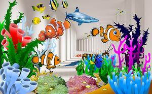 Рыбки на фоне тоннеля