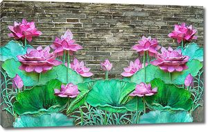 Розовые лотосы у кирпичной стены