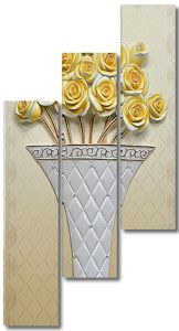 Ваза с розами с ромбическим рисунком