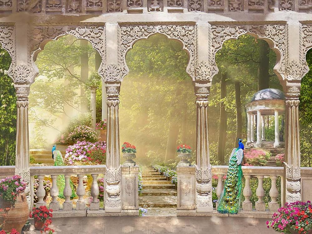 Фотообои «Резные колонны на веранде», купить в интернет-магазине «Первое Ателье»™