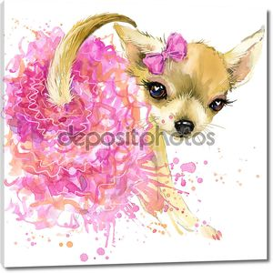 Puppy dog toy terrier in fashion skirt T-shirt graphics. dog illustration with splash watercolor textured  background. unusual illustration watercolor dog for fashion print, poster, textiles