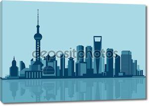 Иллюстрация горизонта Шанхая