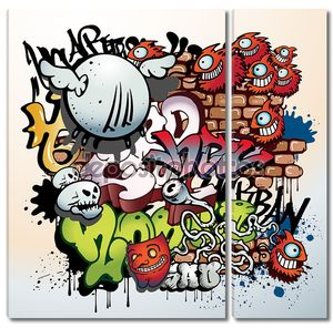 Элементы граффити с буквами и рожицами