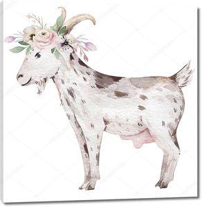 Коза с венком из цветов