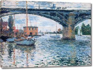 Моне Клод. Мост в Аржантее, серая погода, 1874