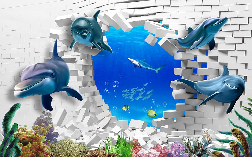 Фотообои «Дельфины выплывают из стены», купить в интернет-магазине «Первое Ателье»™