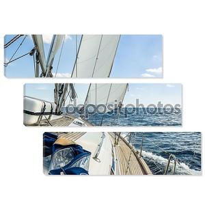 круиз на яхте паруса в Атлантическом океане в Солнечный день