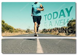 Составное изображение спортивная(ый) человека, бег на открытой дороге