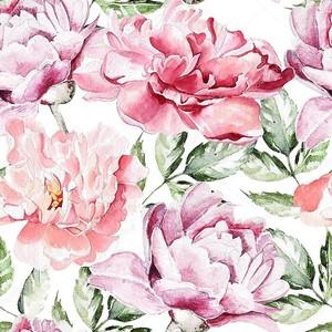 Бесшовный фон с цветами акварель. Пионы.