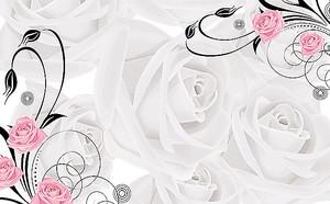 Крупные белы розы с розочками в углах