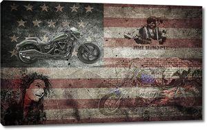 Американский флаг с мотоциклами