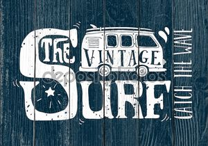 Vintage summer surf print with a mini van and 70s style hand let