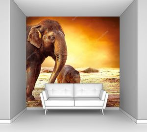 Мать-слон и слоненок на открытом воздухе