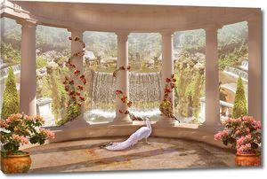 Вид с веранды на прекрасный водопад