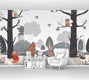Лесные звери в рисованном лесу