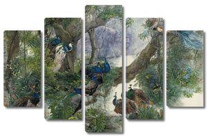 Группа павлинов на дереве