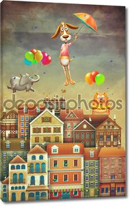 Illustration of cute houses and animals in sky