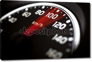 Крупным планом измеритель скорости автомобиля