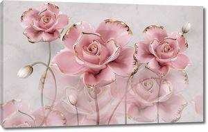 3d иллюстрация, серый мраморный фон, большие розовые позолоченные розы