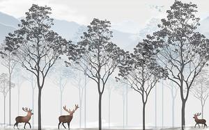 Три оленя у деревьев