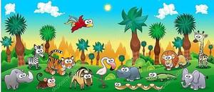 Лес с забавными дикими животными