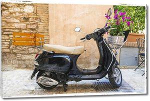 Скутер у стены с цветами