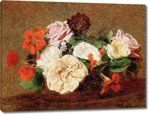 Фантен-Латур Анри. Розы и настурции в вазе