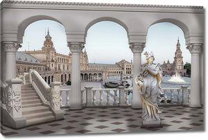 Статуя, колонны и вид на город