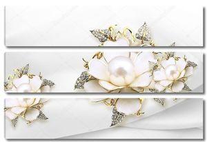 Большие белые позолоченные цветы перлы