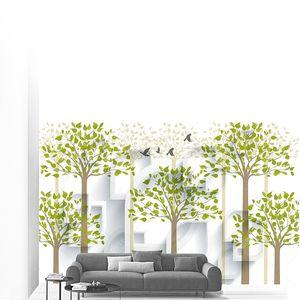 Деревья с листьями на фоне фигур