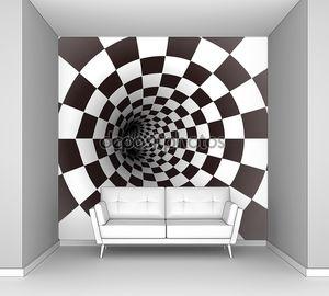Черный и белый спиральный туннель. Вектор