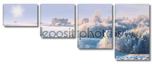 Панорама фото зимний пейзаж на рассвете