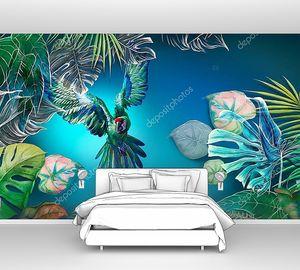 Яркий летающий попугай среди тропических листьев