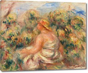 Ренуар. Женщина в шляпе в пейзаже