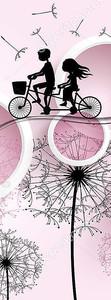 Велосипедисты на фоне рисованных одуванчиков