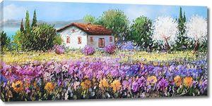 Яркое цветочное поле рядом с домом