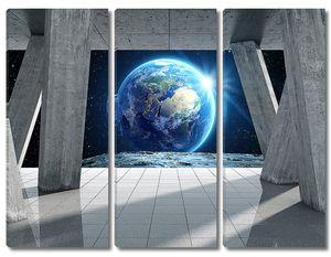 Вид Земли сквозь арочную конструкцию из бетона