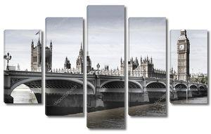Лондон, Великобритания - 14 июля 2014: Биг-Бена, дома парламента и Вестминстерского моста на реке Темзе