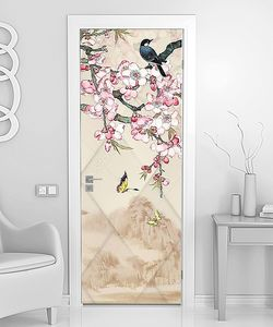 Ветки сакуры с птицами и бабочками
