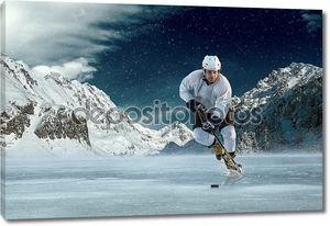 Игрок хоккея на льду в действии Открытый