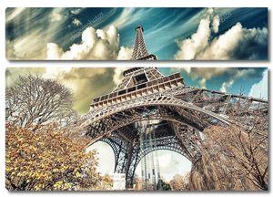 Прекрасная видом Эйфелевой башни и зимний растительности - Париж