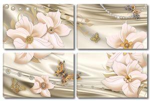 Нежные цветы на атласной ткани