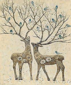 Олени с птицами на рогах